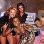 A very 1997 photo of the Spice Girls at AOL in NYC (March 14, 1997)