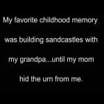 Building sandcastle with grandpa