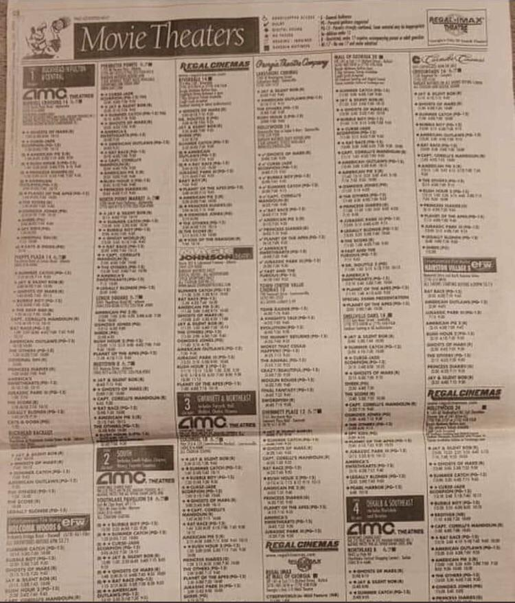 Having to look up the movie showtimes in the newspaper