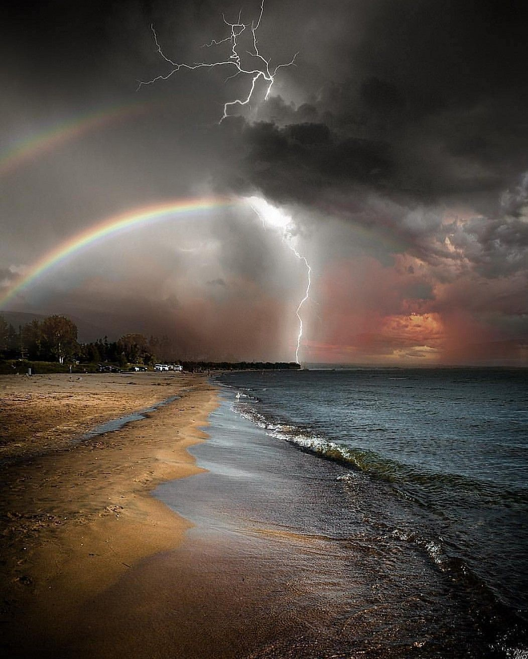 Two Rainbows and one huge thunderbolt, altogether