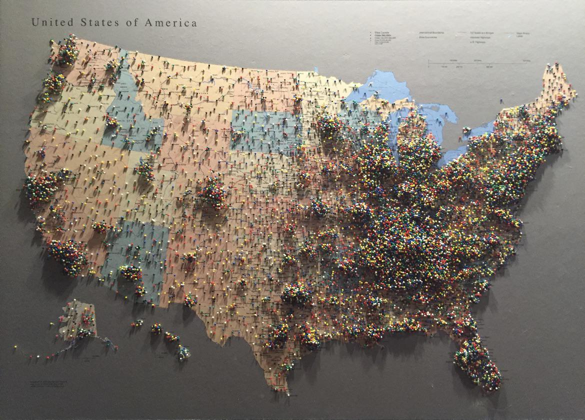 This pin map of people's hometowns