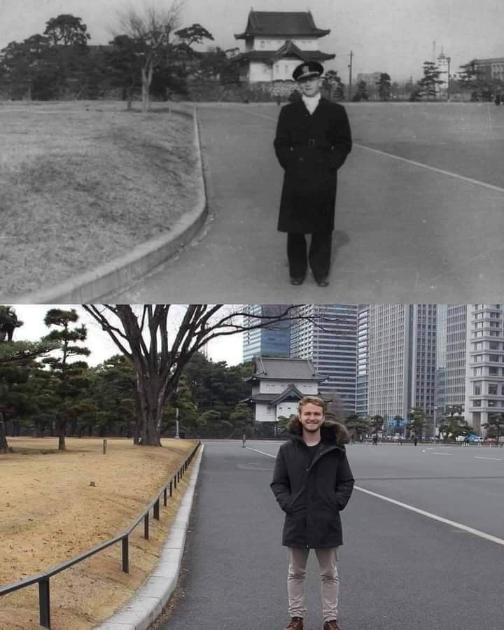 This guy is in Tokyo in the same place where his grandfather was 73 years ago