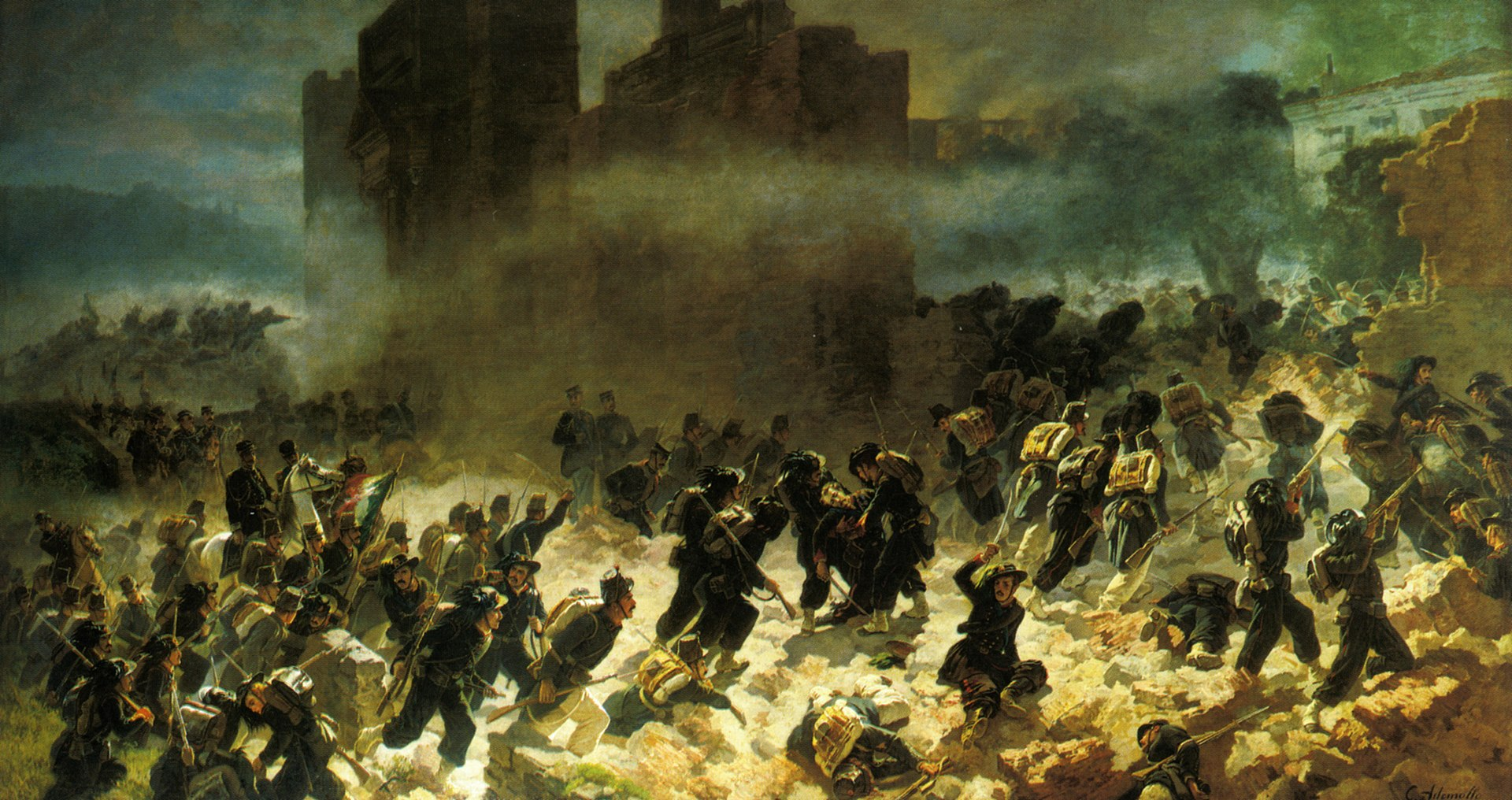 On this day in 1870 the Bersaglieri corps enter Rome through the Porta Pia, and thus completing the unification of Italy