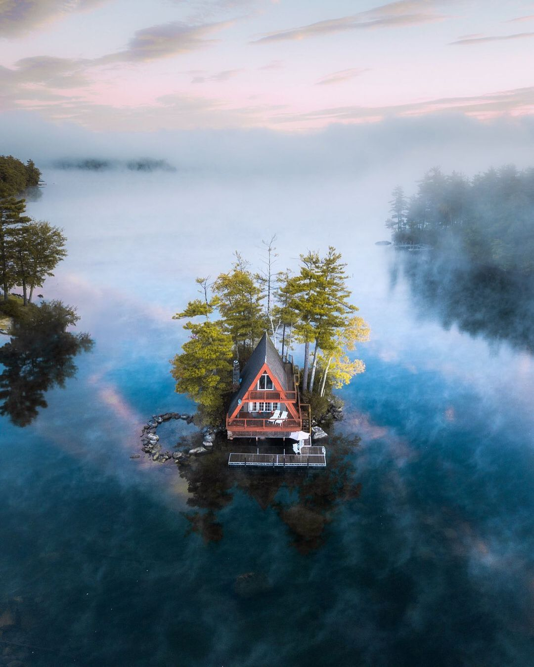 A cabin on the water