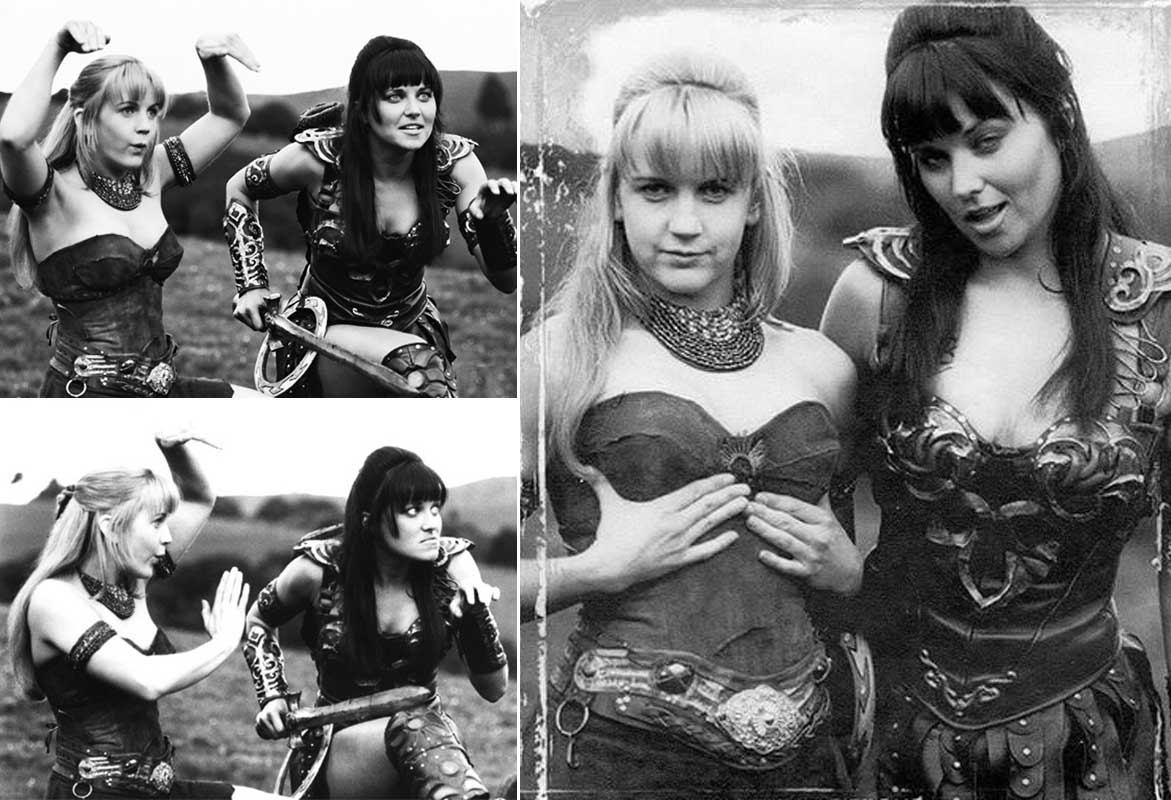 Renée OConnor and Lucy Lawless goofing off on the set of Xena Warrior Princess (1995)