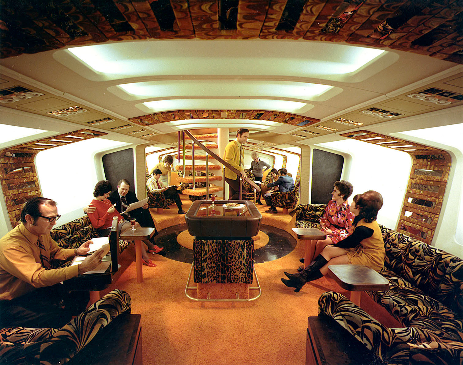 At the Tiger Lounge of an American Airlines Boeing 747. 1970's