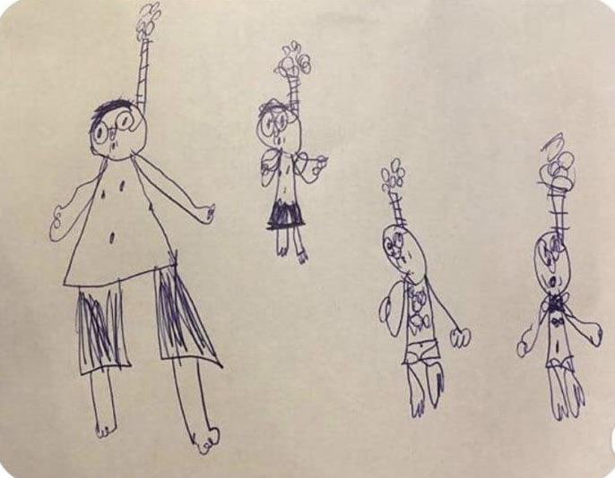 A 6 year old drew their family snorkeling