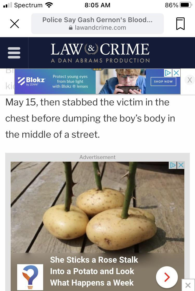 A news item and stabbing a potato