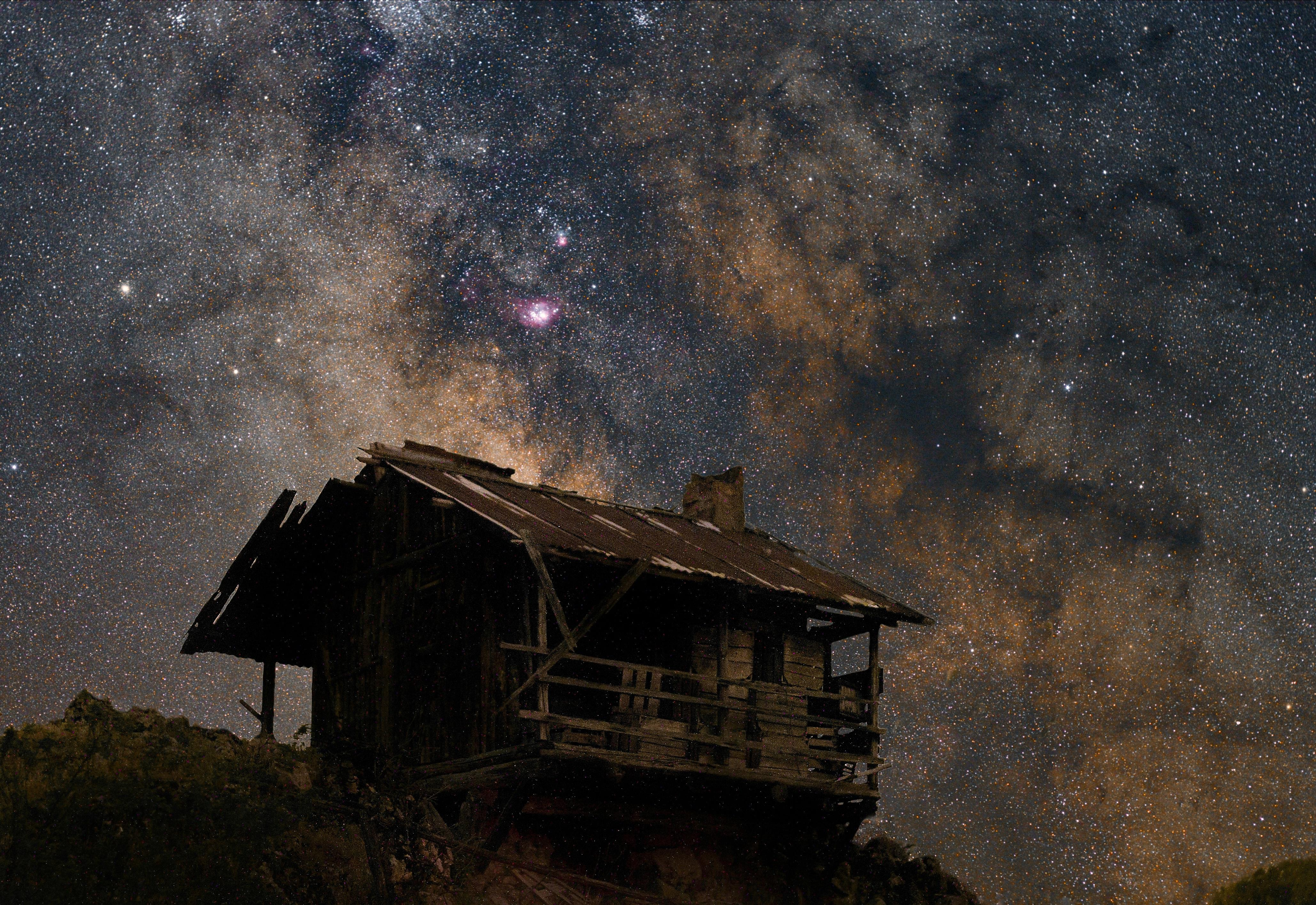 Milkyway over an old house