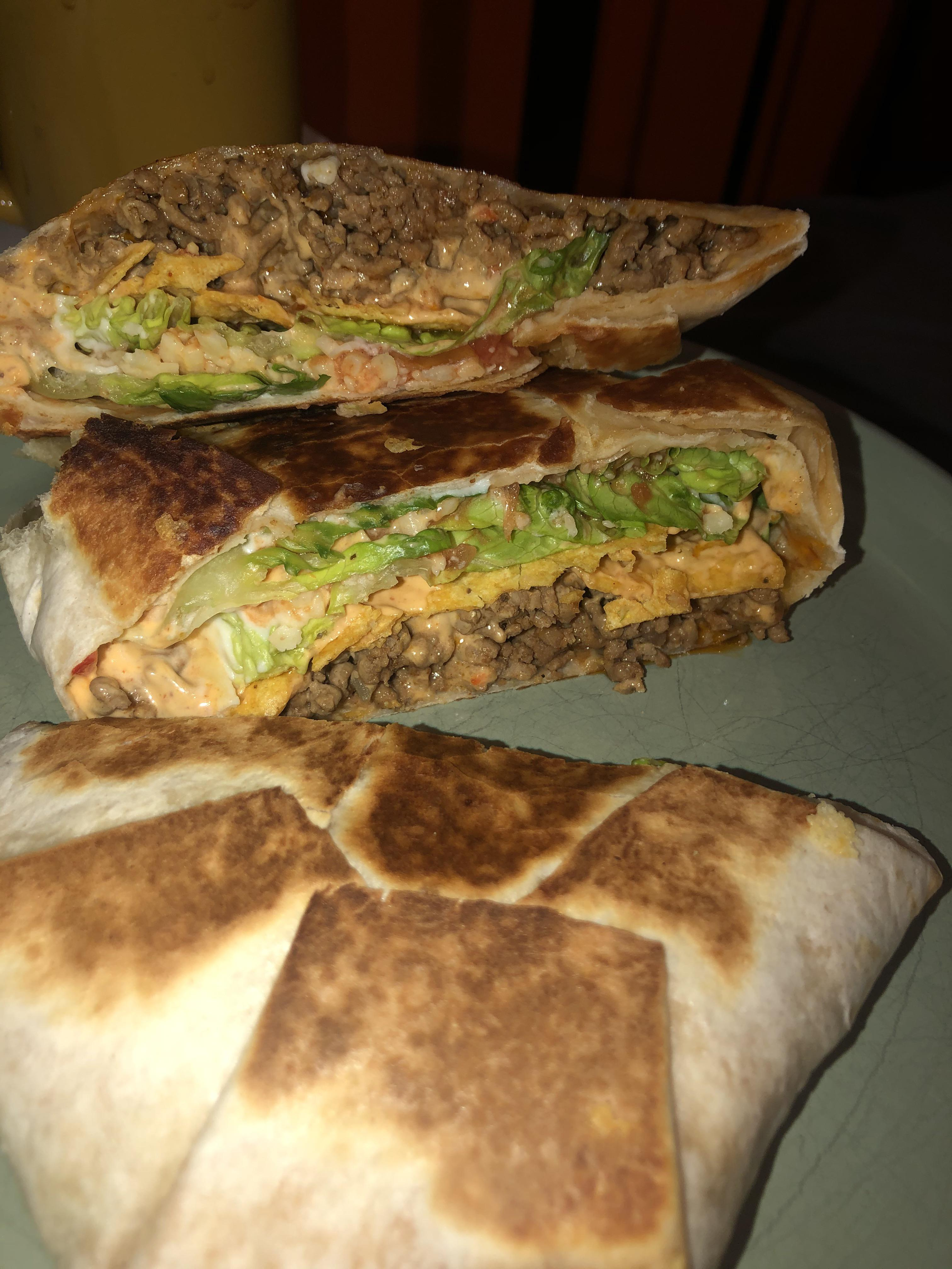 Homemade beef crunchwrap supreme, was craving taco bell!