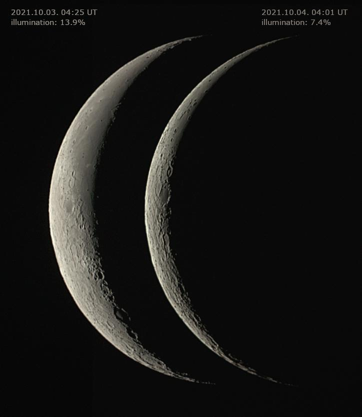 The waning Moon 1 day apart