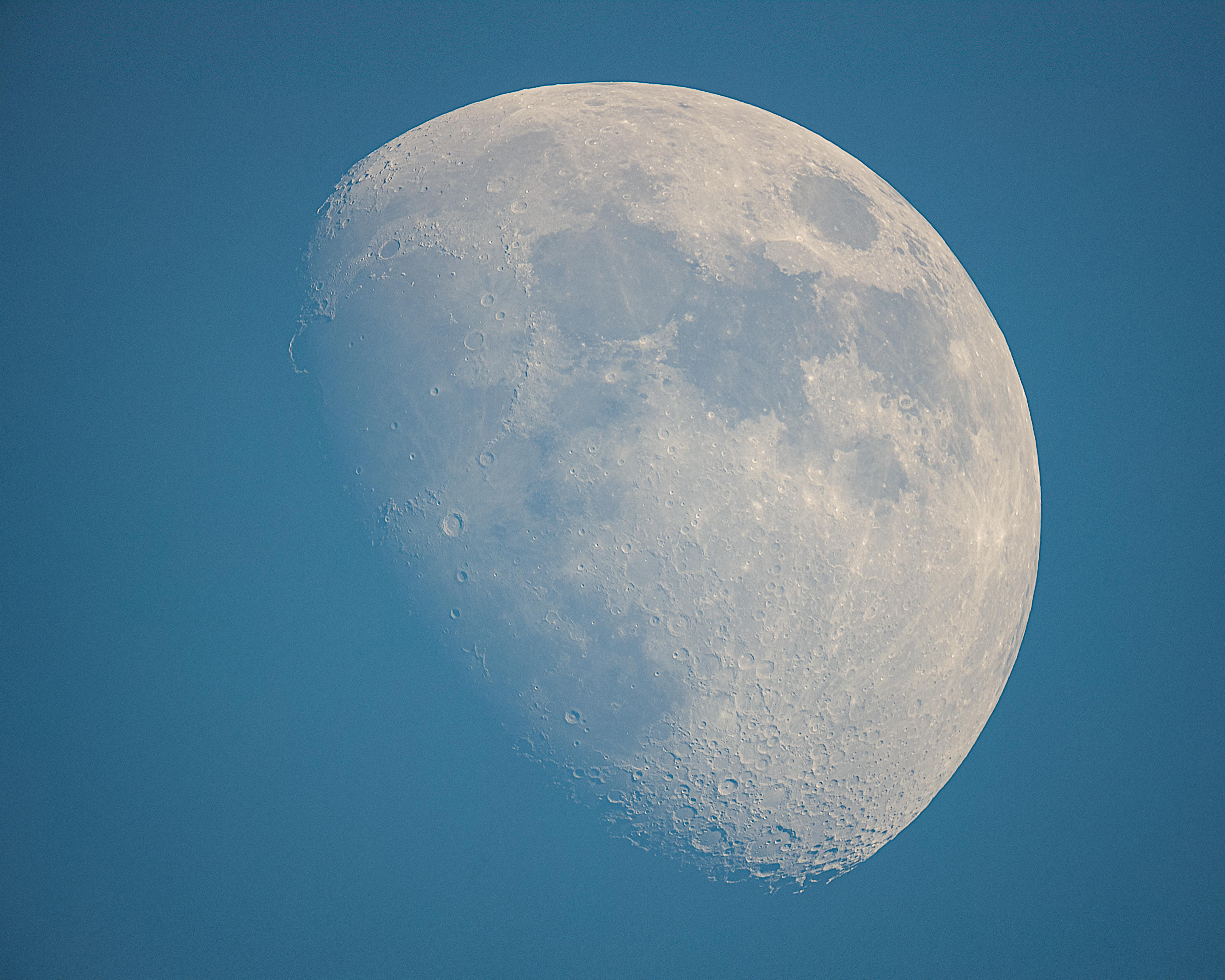 Today's 75.8% waxing gibbous Moon with the Golden Handle during daylight