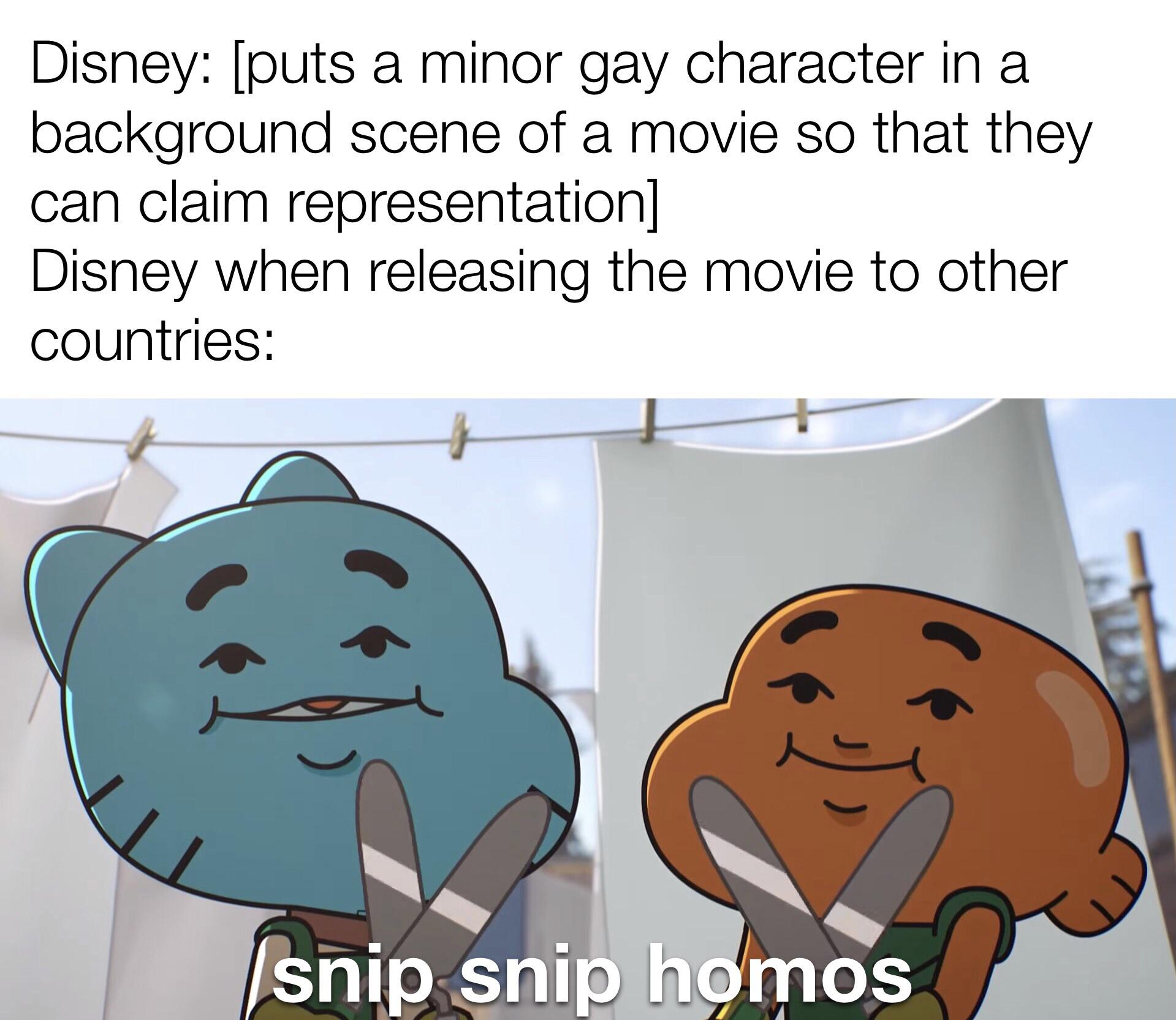 """""""A GAY character? Why, whatever do you mean? There was never a gay character in this movie."""""""