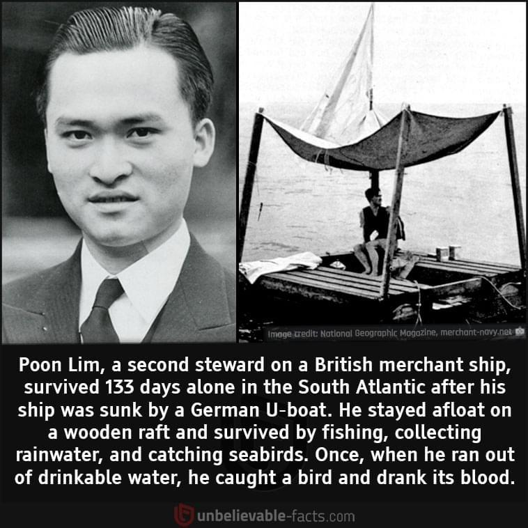 Poon Lim survived 135 days alone on a raft in the middle of the ocean