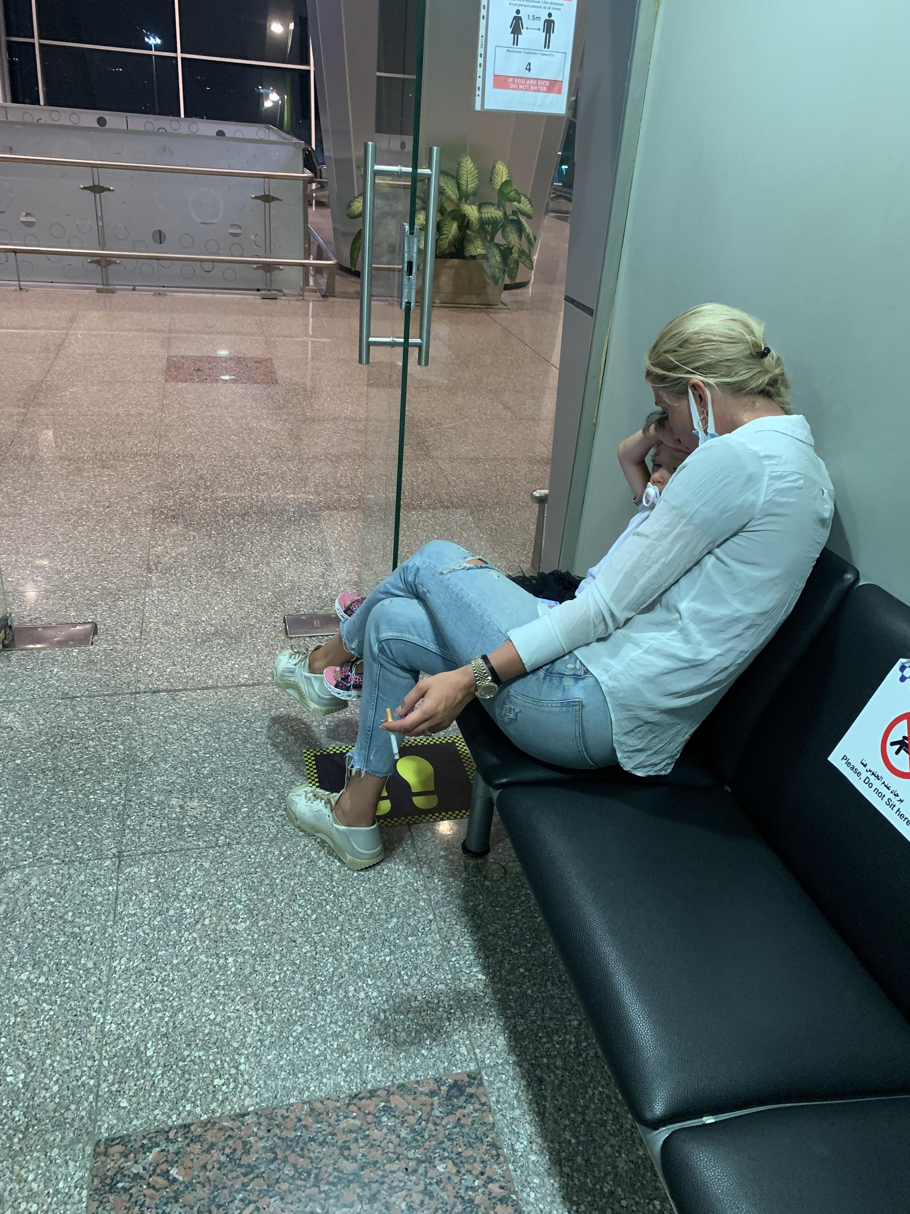 Taking your child to the airport smoking room