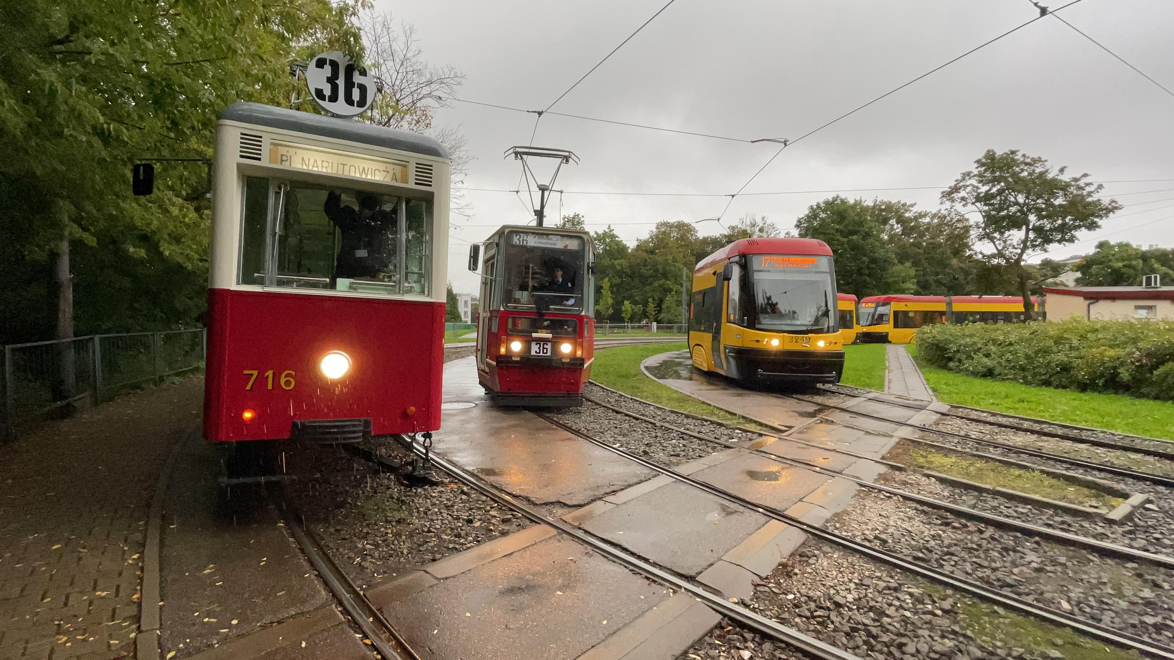 3 generations of Warsaw Trams