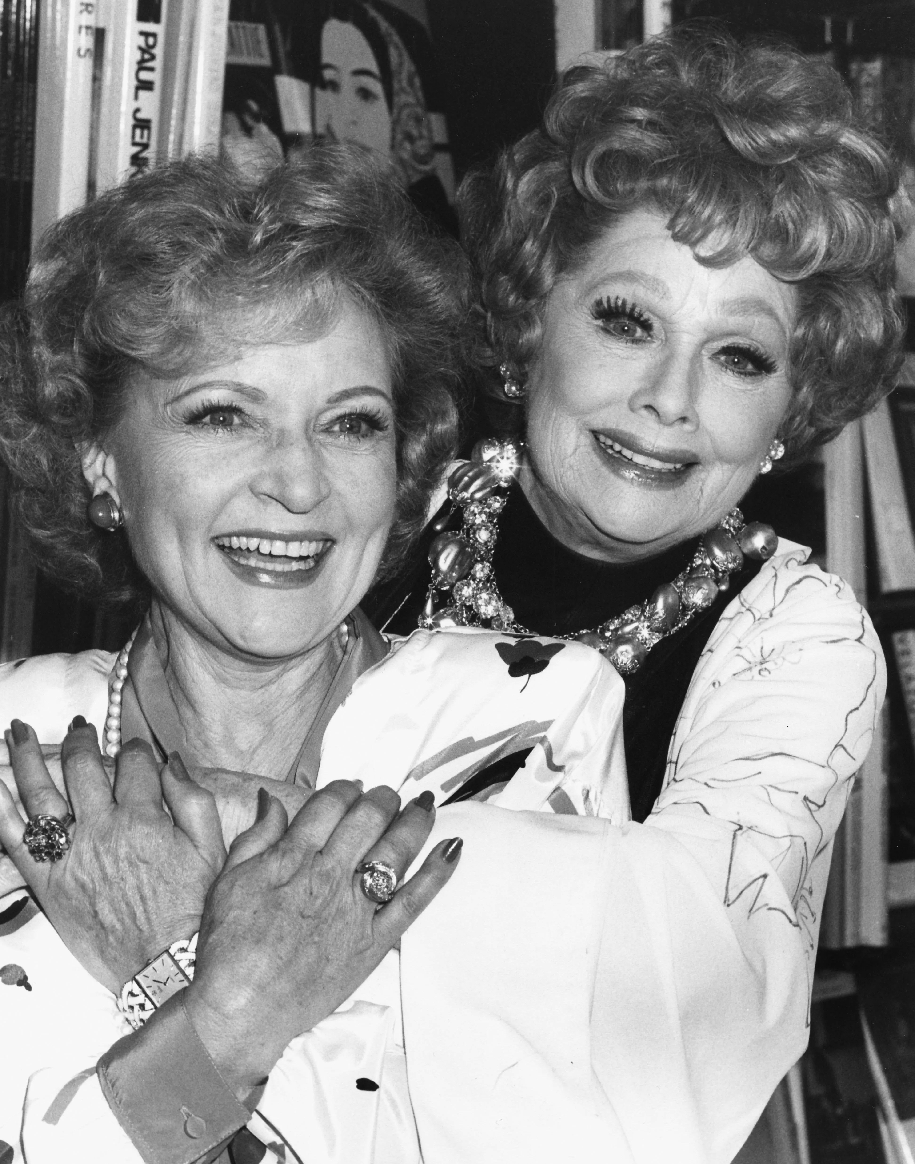Betty White with Lucille Ball at a book signing event in Los Angeles, October 2nd 1987