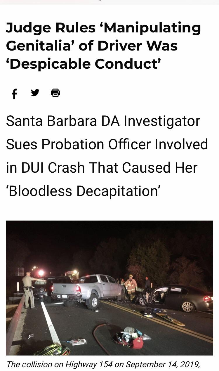 Probation officer has an affair with lieutenant, let's him drive her car while intoxicated, gives him road head, and subsequently seriously injures 4 others