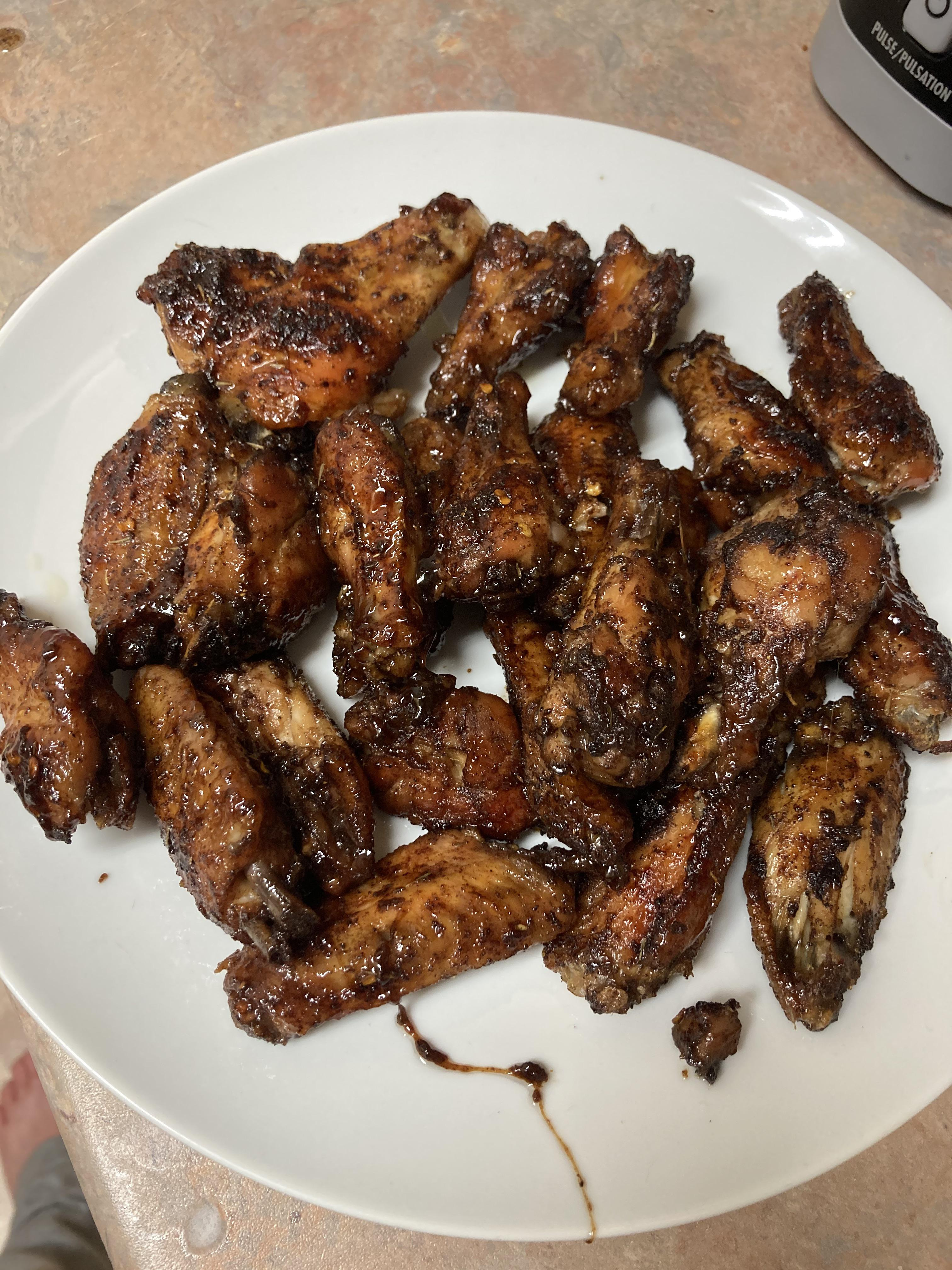 Maple Jerk Chicken Wings with real maple syrup and dry jerk seasoning