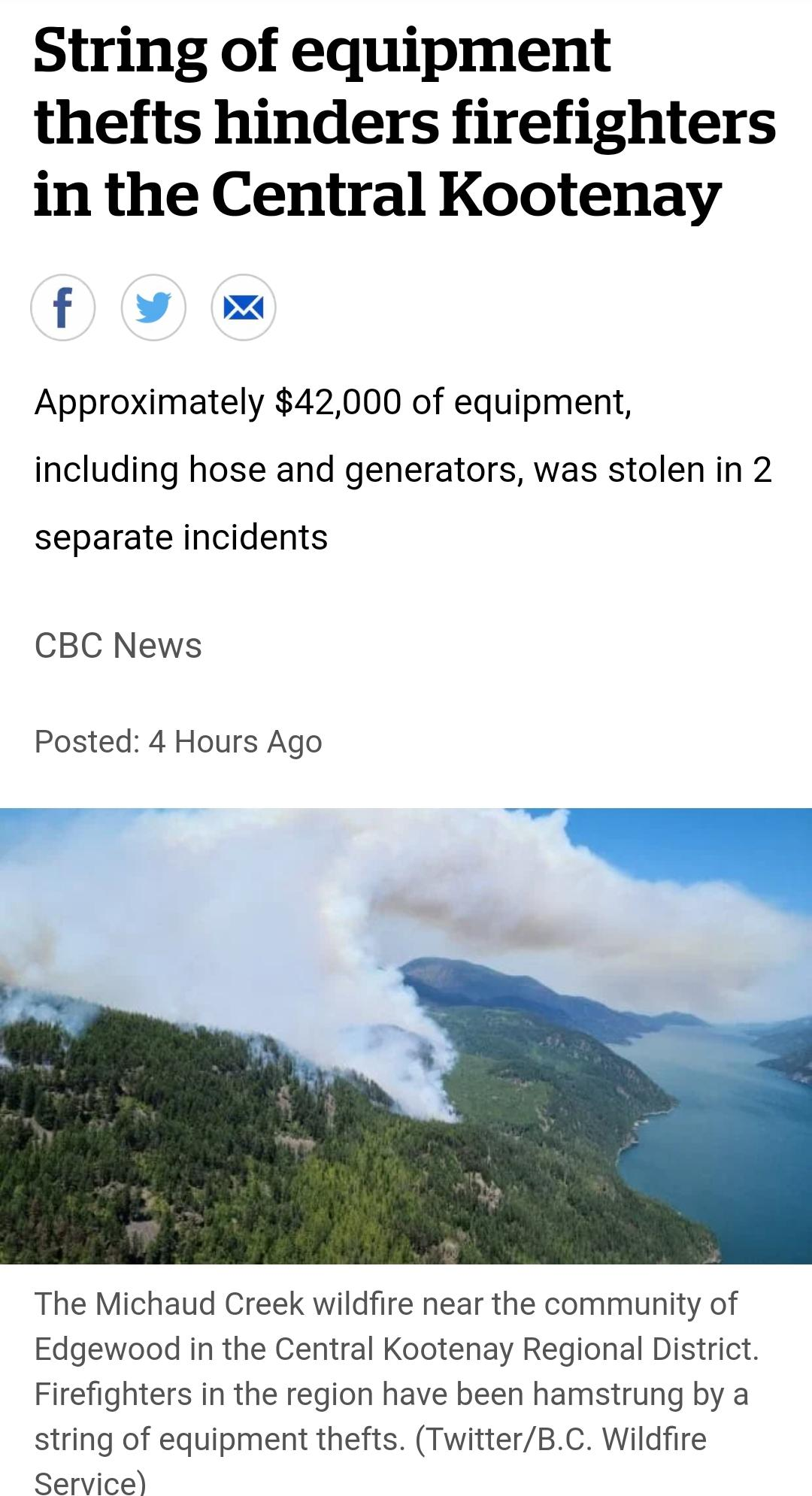 POS steals equipment from firefighters