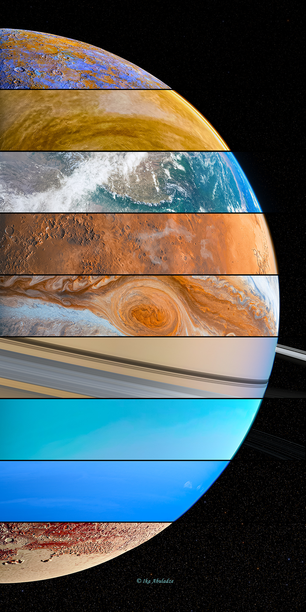 Aligned Planets but this time Pluto is included (4k)