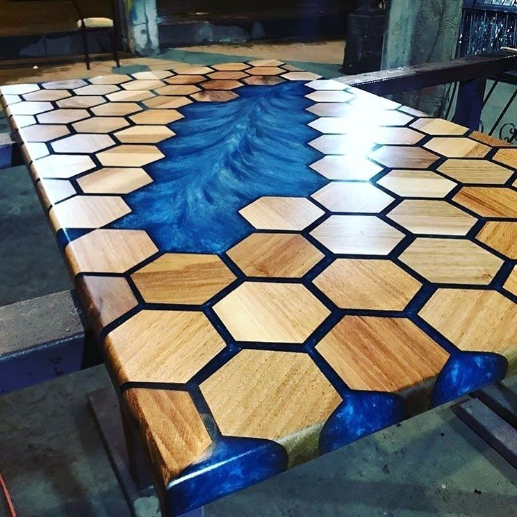 Beautiful table with epoxy resin