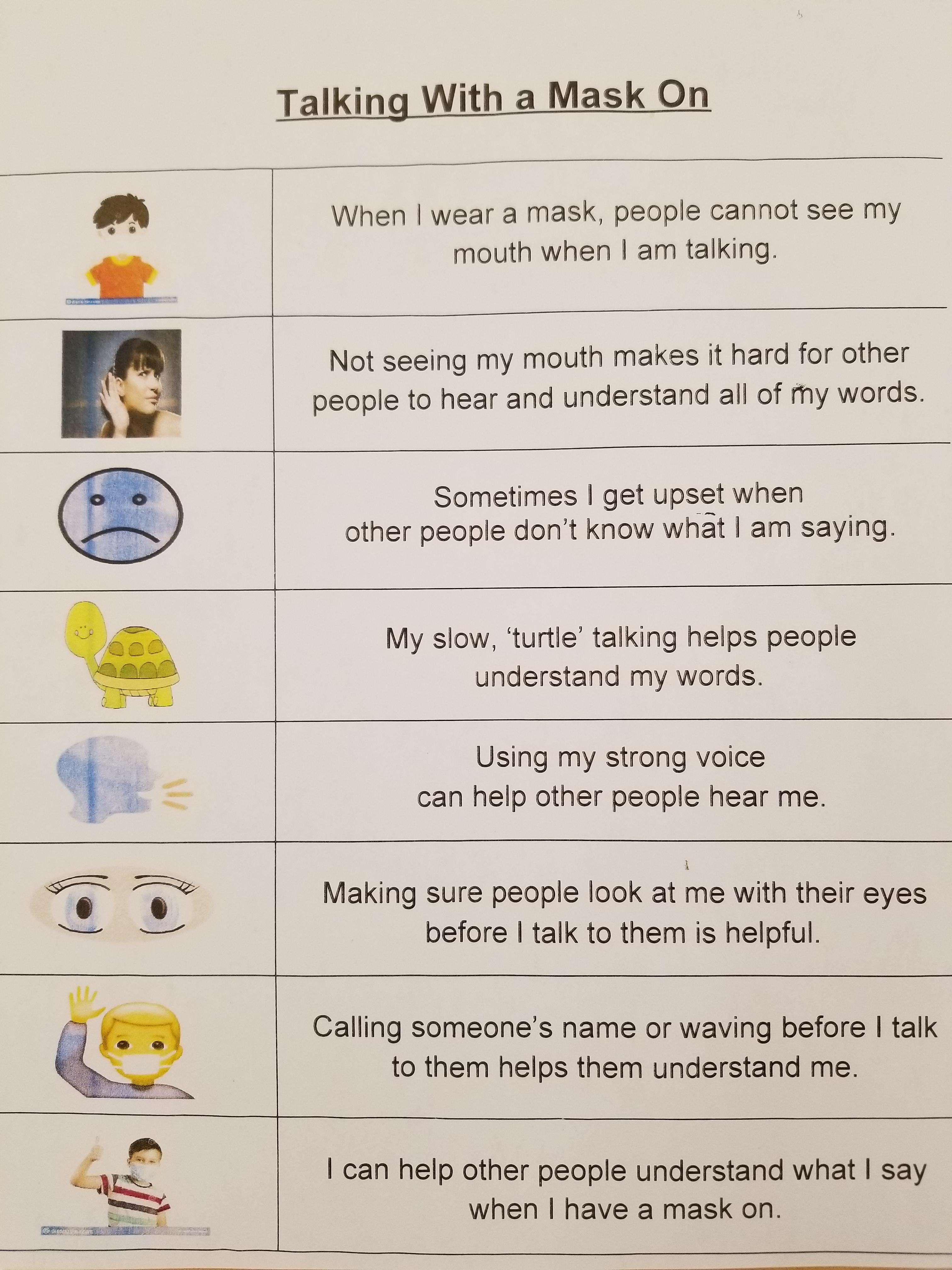 Guide for children's speech to be understood while wearing a mask