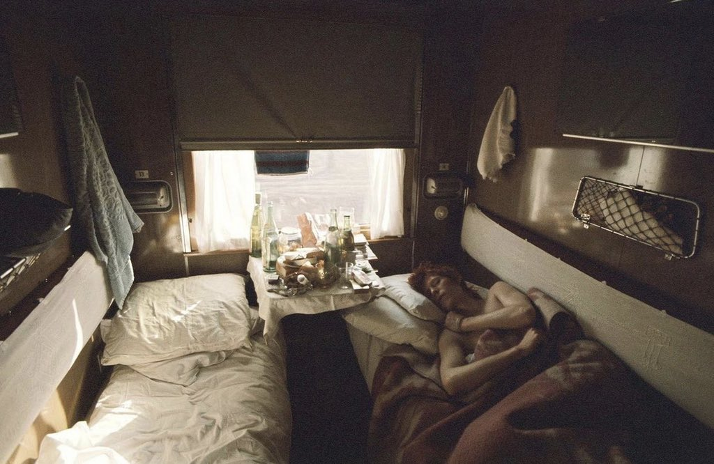 David Bowie sleeping in the Trans-Siberian Express, USSR, 1973