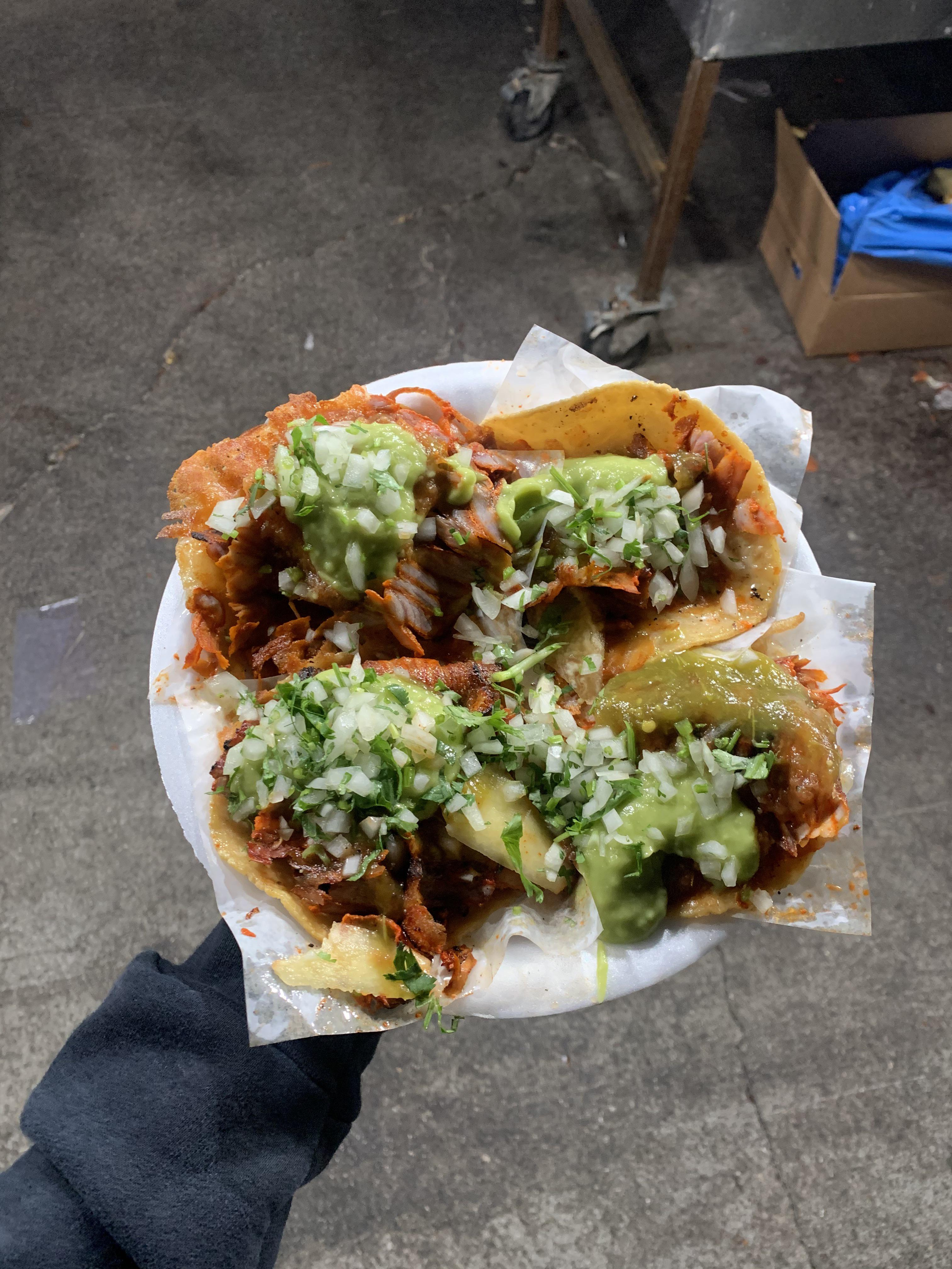 Al Pastor queso tacos with handmade tortilla! By far the best tacos in LA